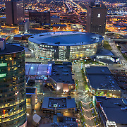 Sprint Center Arena in downtown Kansas City, MO; high angle view in early morning