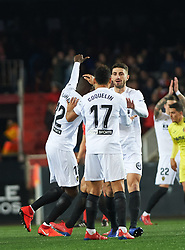 January 26, 2019 - Valencia, Valencia, Spain - Valencia CF players celebrates a goal during the La Liga Santander match between Valencia and Villarreal at Mestalla Stadium on Jenuary 26, 2019 in Valencia, Spain. (Credit Image: © AFP7 via ZUMA Wire)