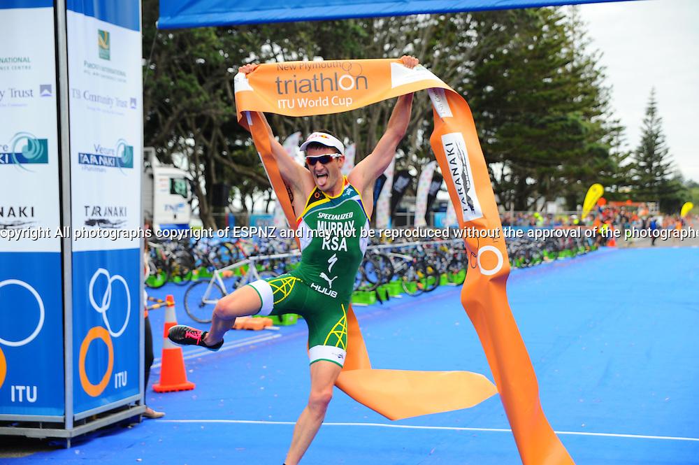 Richard Murray of South Africa celebrates winning the 2015 New Plymouth ITU Triathlon World Cup held at Ngamotu beach New Plymouth Sunday 22nd March.<br /> Photo John Velvin ESPNZ<br /> www.elitesportsphotographynz.com
