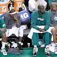07 June 2012: Boston Celtics small forward Paul Pierce (34), Boston Celtics point guard Rajon Rondo (9), Boston Celtics power forward Kevin Garnett (5) and Boston Celtics shooting guard Ray Allen (20) are seen on the bench during the fourth quarter of Miami Heat 98-79 victory over the Boston Celtics, in Game 6 of the Eastern Conference Finals playoff series, at the TD Banknorth Garden, Boston, Massachusetts, USA.