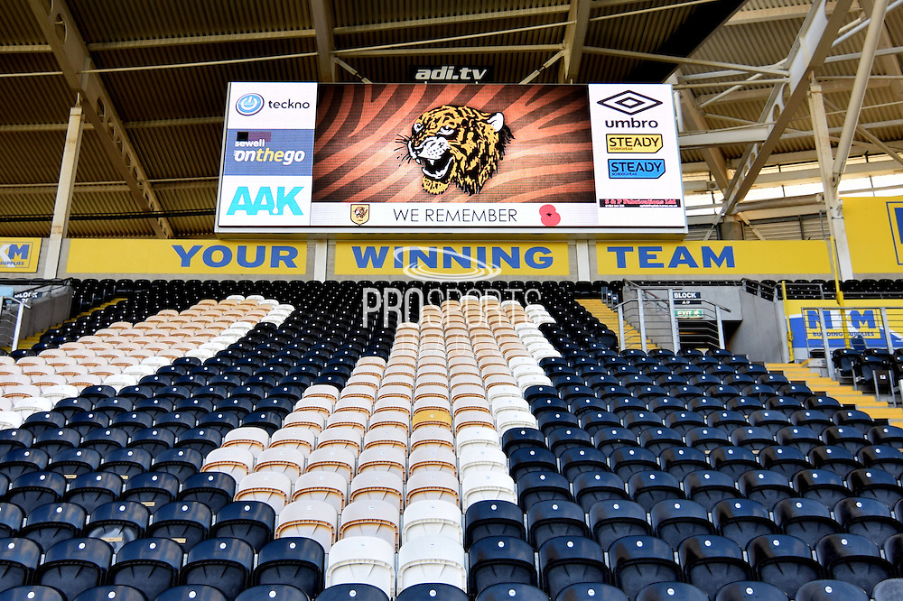 Hull City KC Stadium score board before the Sky Bet Championship match between Hull City and Middlesbrough at the KC Stadium, Kingston upon Hull, England on 7 November 2015. Photo by Ian Lyall.