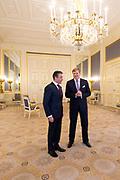 Secretaris-generaal Anders Fogh Rasmussen van de NAVO is in paleis Noordeinde op audi&euml;ntie bij koning Willem-Alexander. Rasmussen is in Den Haag ter voorbereiding voor de NAVO-top begin september in Wales. <br /> <br /> Secretary-General Anders Fogh Rasmussen, NATO's Palace Noordeinde in audience by King Willem-Alexander. Rasmussen is in The Hague, in preparation for the NATO summit in early September in Wales.