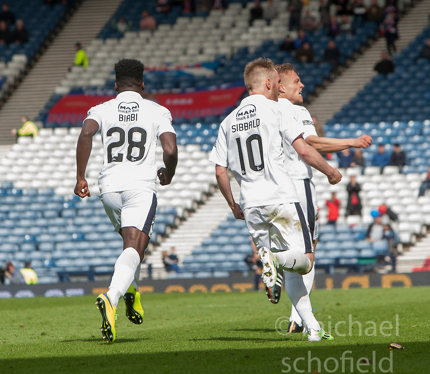 Falkirk's Peter Grant cele scoring their goal. Falkirk 1 v 2 Inverness CT, Scottish Cup final at Hampden.