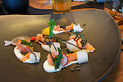 Sylt, Germany. List. Spa Resort A-Rosa Sylt. Spices Restaurant.<br /> MISO AMEMASE, Fermentierter Saibling, Miso-Crème, Daikon Rettich,<br />