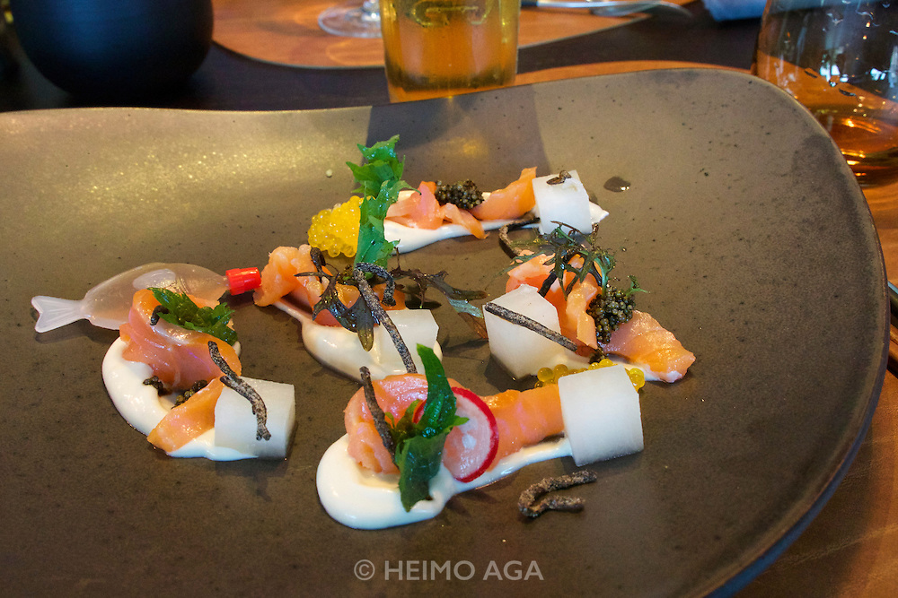 Sylt, Germany. List. Spa Resort A-Rosa Sylt. Spices Restaurant.<br /> MISO AMEMASE, Fermentierter Saibling, Miso-Cr&egrave;me, Daikon Rettich,<br />