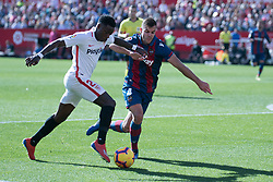 January 26, 2019 - Sevilla, Andalucia, Spain - Promes of Sevilla FC and Rober Pier of Levante UD competes for the ball during the La Liga match between Sevilla FC v Levante UD at the Ramon Sanchez Pizjuan Stadium on January 26, 2019 in Sevilla, Spain  (Credit Image: © Javier MontañO/Pacific Press via ZUMA Wire)