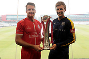 Lancashires Jos Buttler (Wicket Keeper) and Yorkshires Joe Root with the Vitality Blast trophy during the Vitality T20 Blast North Group match between Lancashire County Cricket Club and Yorkshire County Cricket Club at the Emirates, Old Trafford, Manchester, United Kingdom on 20 July 2018. Picture by George Franks.