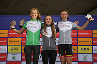 LONDON UK 29TH JULY 2016:  Hannah Brehaut Alderney Baker Lucy Gadd Youth Girls A U16. Prudential RideLondon Grand Prix at the London Velo Park. Prudential RideLondon in London 29th July 2016<br /> <br /> Photo: Jed Leicester/Silverhub for Prudential RideLondon<br /> <br /> Prudential RideLondon is the world's greatest festival of cycling, involving 95,000+ cyclists – from Olympic champions to a free family fun ride - riding in events over closed roads in London and Surrey over the weekend of 29th to 31st July 2016. <br /> <br /> See www.PrudentialRideLondon.co.uk for more.<br /> <br /> For further information: media@londonmarathonevents.co.uk