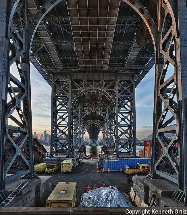 Driving around Williamsburg Brooklyn with fellow photographer Rick Zalenski, we came across this image of the Williamsburg Bridge.  I had to climb on top of a fenced wall and shoot through the bars.  It was a pain in the ass to get, but I got the shot.