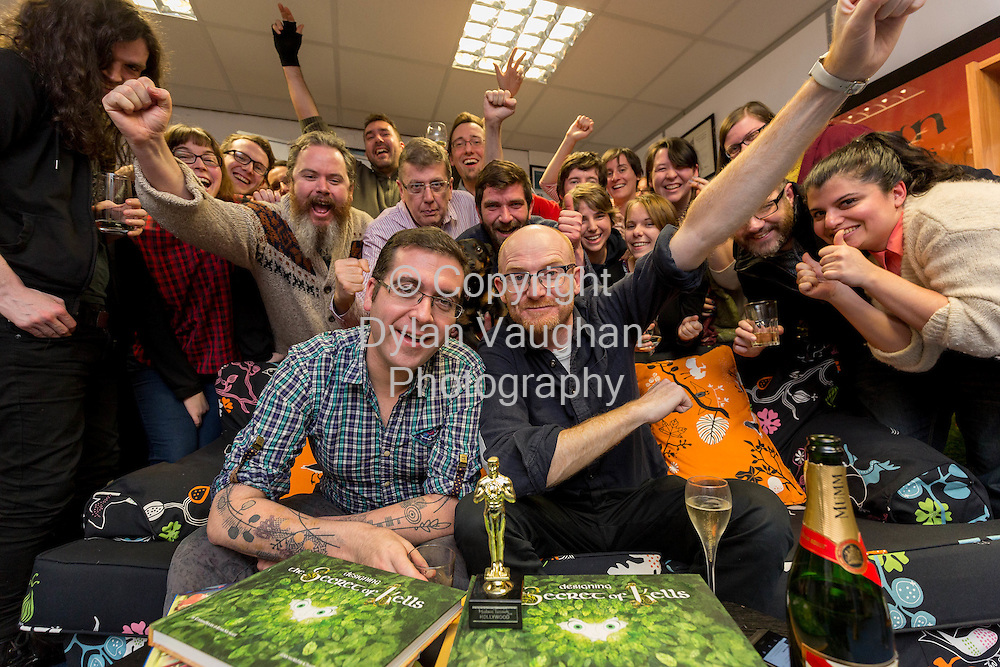 15-1-15<br /> Tom Moore and Paul Young (on couch) of Cartoon Saloon in Kilkenny pictured with the crew after being nominated yesterday for an Oscar.<br /> Picture Dylan Vaughan.