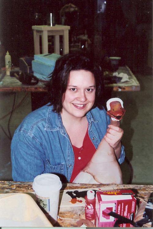 "Prop Shop Photos(copy) Natalie Taylor making a deer for the show, ""A Lie of the Mind."""