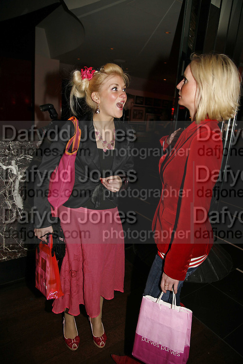 Leigh Purves and Charli Morgan, First night party for Smaller  at Floridita, 100 Wardour Street W1 on Tuesday 4 AprilONE TIME USE ONLY - DO NOT ARCHIVE  © Copyright Photograph by Dafydd Jones 66 Stockwell Park Rd. London SW9 0DA Tel 020 7733 0108 www.dafjones.com