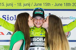 Winner Sam Bennett (ITA) of Bora - Hansgrohe celebrates in green jersey at trophy ceremony during Stage 1 of 24th Tour of Slovenia 2017 / Tour de Slovenie from Koper to Kocevje (159,4 km) cycling race on June 15, 2017 in Slovenia. Photo by Vid Ponikvar / Sportida