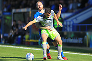 Matty Done challenges Zeli Ismail during the EFL Sky Bet League 1 match between Rochdale and Walsall at Spotland, Rochdale, England on 25 August 2018.