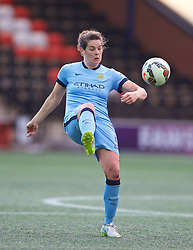 WIDNES, ENGLAND - Sunday, April 26, 2015: Manchester City's captain Jennifer Beattie in action against Liverpool during the FA Women's Super League match at the Halton Stadium. (Pic by David Rawcliffe/Propaganda)