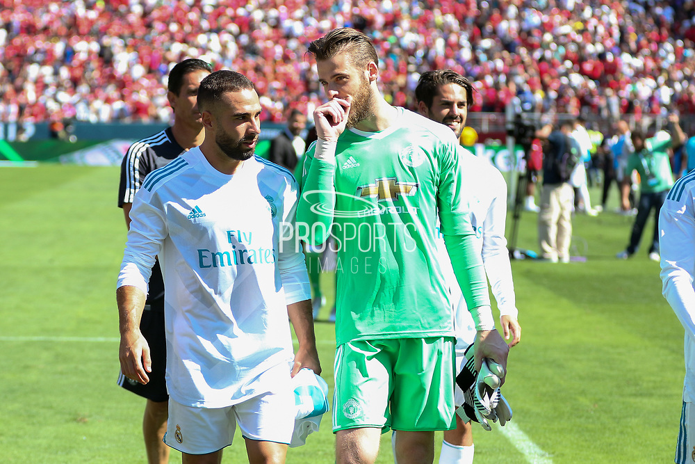 Manchester United Goalkeeper David De Gea leaves the pitch during the AON Tour 2017 match between Real Madrid and Manchester United at the Levi's Stadium, Santa Clara, USA on 23 July 2017.