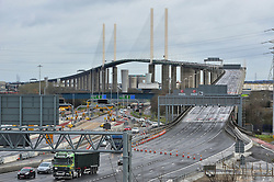 © Licensed to London News Pictures. 28/03/2016<br /> <br /> Queen Elizabeth II Bridge at Dartford River Crossing in Kent is closed because of high winds from storm Katie.<br /> Winds up to 80 mph have battered the UK over night.<br /> <br />  (Byline:Grant Falvey/LNP)