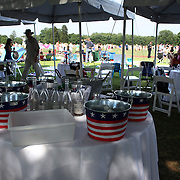 The spectator area during the White Birch Vs K.I.G Polo match in the Butler Handicap Tournament match at the Greenwich Polo Club. White Birch won the game 11-8. Greenwich Polo Club,  Greenwich, Connecticut, USA. 12th July 2015. Photo Tim Clayton