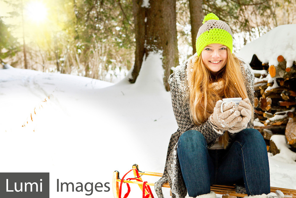 Woman, Sled, Warm Clothing, Coffee Cup,