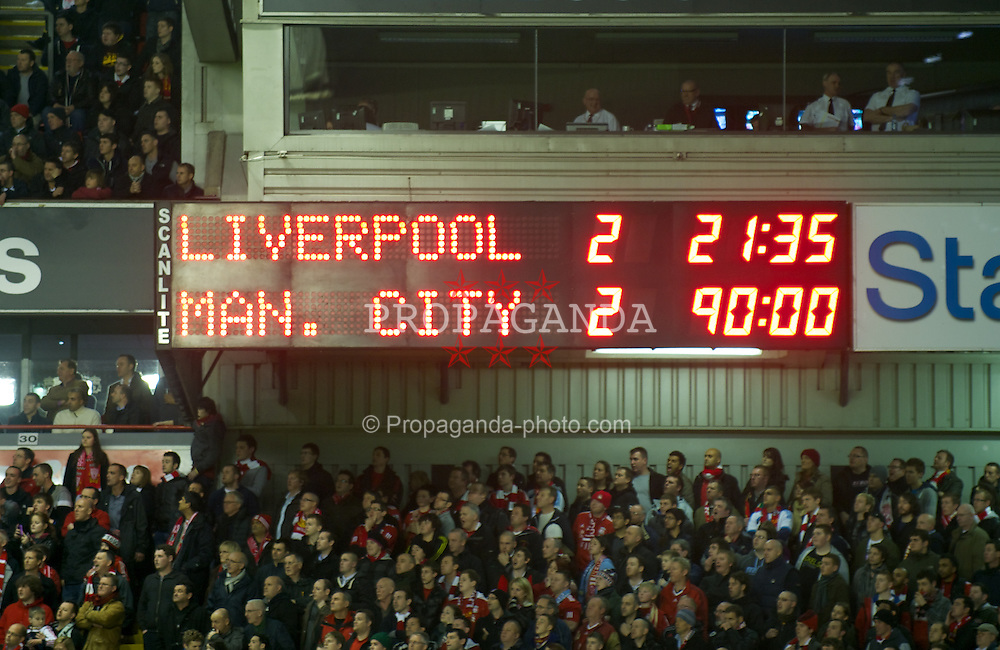 LIVERPOOL, ENGLAND - Wednesday, January 25, 2012: The scoreboard records Liverpool 2-2 draw with Manchester City, a 3-2 aggregate win, during the Football League Cup Semi-Final 2nd Leg at Anfield. (Pic by David Rawcliffe/Propaganda)