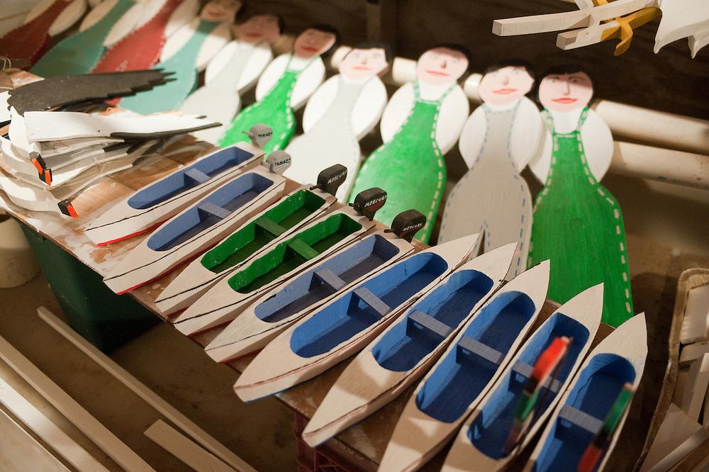 Handmade figures and boats