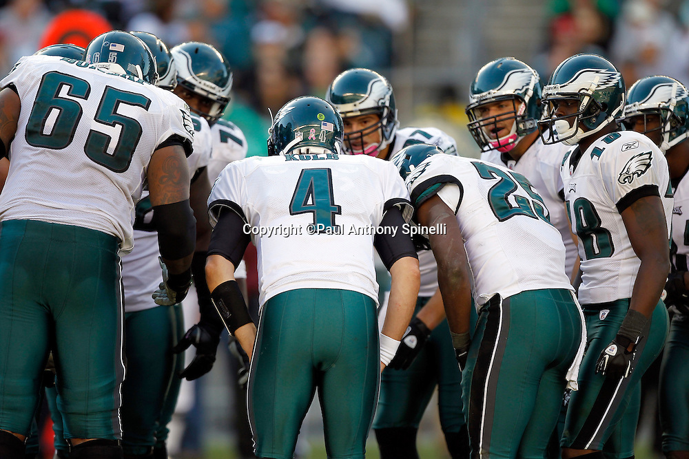 Philadelphia Eagles quarterback Kevin Kolb (4) calls an offensive play in the huddle during the NFL week 6 football game against the Atlanta Falcons on Sunday, October 17, 2010 in Philadelphia, Pennsylvania. The Eagles won the game 31-17. (©Paul Anthony Spinelli)