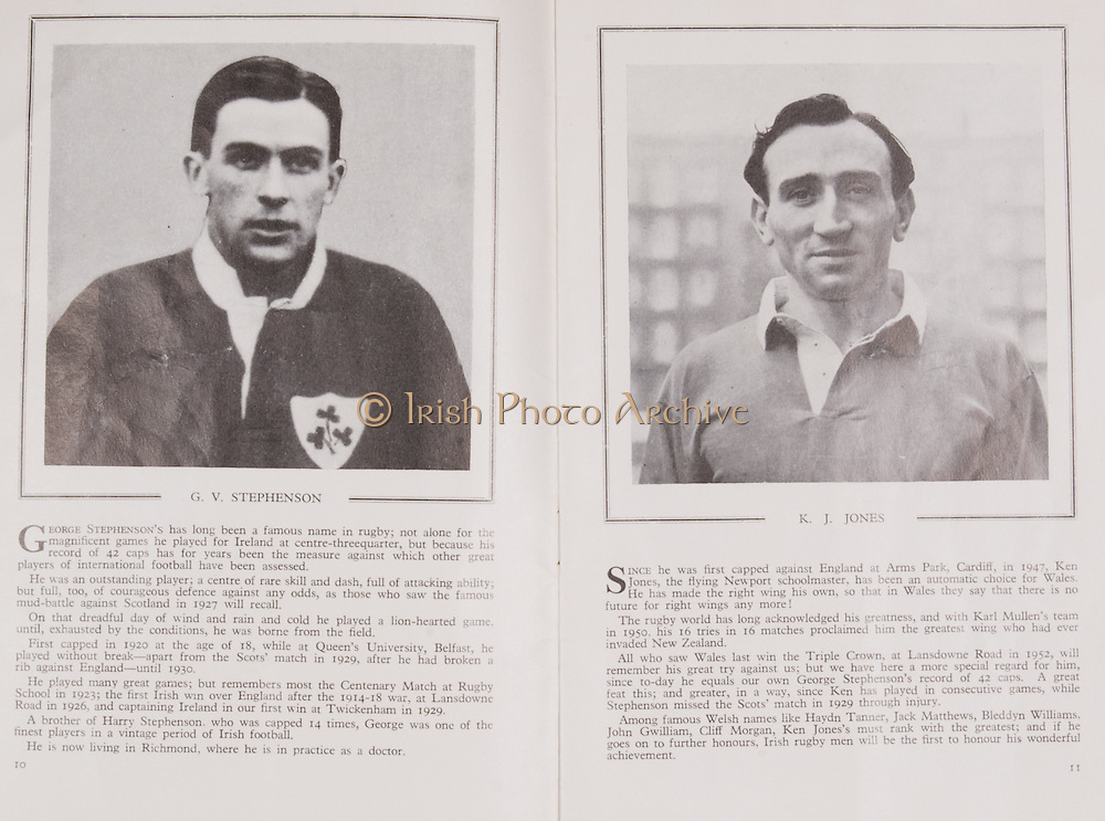 Irish Rugby Football Union, Ireland v Wales, Five Nations, Landsdowne Road, Dublin, Ireland, Saturday 10th March, 1956,.10.3.1956, 3.10.1956,..Referee- A I Dickie,  Scottish Rugby Union,..Score- Ireland 11 - 3 Wales, ..Irish Team, ..P J Berkery, Wearing number 15 Irish jersey, Full back, Landsdowne Rugby Football Club, Dublin, Ireland,..S V J Quinlan, Wearing number 14 Irish jersey, Right Wing, Highfield Rugby Football Club, Cork, Ireland, and, Blackrock College Rugby Football Club, Dublin, Ireland,..N J Henderson, Wearing number 13 Irish jersey, Captain of the Irish team, Right centre, N.I.F.C, Rugby Football Club, Belfast, Northern Ireland, ..A J O'Reilly, Wearing number 12 Irish jersey, Left Centre, Old Belvedere Rugby Football Club, Dublin, Ireland,  ..A C Pedlow, Wearing number 11 Irish jersey, Left Wing, Queens University Rugby Football Club, Belfast, Northern Ireland,..J W Kyle, Wearing number 10 Irish jersey, Ouside Half, N.I.F.C, Rugby Football Club, Belfast, Northern Ireland, ..J A O'Meara, Wearing number 9 Irish jersey, Scrum, Dolphin Rugby Football Club, Cork, Ireland, ..P J O'Donoghue, Wearing  Number 1 Irish jersey, Forward, Bective Rangers Rugby Football Club, Dublin, Ireland, ..R Roe, Wearing number 2 Irish jersey, Forward, Landsdowne Rugby Football Club, Dublin, Ireland, and, London Irish Rugby Football Club, Surrey, England, ..B G Wood, Wearing number 3 Irish jersey, Forward, Garryowen Rugby Football Club, Limerick, Ireland, ..R H Thompson, Wearing number 4 Irish jersey, Forward, Instonians Rugby Football Club, Belfast, Northern Ireland,..J R Brady, Wearing number 5 Irish jersey, Forward, C I Y M S Rugby Football Club, Belfast, Northern Ireland, ..M J Cunningham,  Wearing number 6 Irish jersey, Forward, Cork Constitution Rugby Football Club, Cork, Ireland,  ..T McGrath, Wearing number 7 Irish jersey, Forward, Garryowen Rugby Football Club, Limerick, Ireland, . .J R Kavanagh, Wearing number 8 Irish jersey, Forward, Wanderers Rugby Football Club, Dub