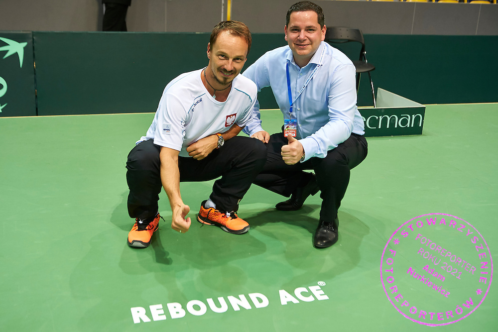 (L) Radoslaw Szymanik - captain national team and (R) Kristin Freund (Rebound Ace) during Davis Cup Tie World Group Play-off Poland v Slovakia at Gdynia Arena Hall in Gdynia, Poland.<br /> <br /> Poland, Gdynia, September 20, 2015<br /> <br /> Picture also available in RAW (NEF) or TIFF format on special request.<br /> <br /> For editorial use only. Any commercial or promotional use requires permission.<br /> <br /> Adam Nurkiewicz declares that he has no rights to the image of people at the photographs of his authorship.<br /> <br /> Mandatory credit:<br /> Photo by &copy; Adam Nurkiewicz / Mediasport
