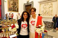 Roma 21 Maggio 2015<br /> Celebration Day, l&rsquo;inaugurazione del registro delle unioni civili in Campidoglio. Sono 17 le coppie che si sono presentate per l&rsquo;iscrizione: coppie omosessuali ed eterosessuali che dopo anni di convivenza  festeggiano con lo scambio degli anelli, la cerimonia si &egrave; svolta nella sala della Protomoteca di Palazzo Senatorio.<br /> Rome May 21, 2015<br /> Celebration Day, the opening of the register of civil unions in the Capitol. Are 17 couples that have occurred for registration: homosexual and heterosexual couples who, after years of living together celebrate with the exchange of rings, the ceremony was held in the hall of Protomoteca Palazzo Senatorio.Same-sex couple Daniela Bellisario and Barbara Vecchieti  they registered their civil union at Rome's city hall on May 21, 2015 in Rome.