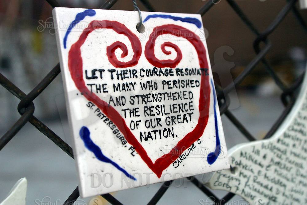 Aug 16, 2002; New York, NY, USA; Painted color tile by Caroline C. from St. Petersburg, FL writes encouragment for all to read across from St. Vincents Hospital in Greenwich Village.  Mandatory Credit: Photo by Shelly Castellano/ZUMA Press. (©) Copyright 2002 by Shelly Castellano