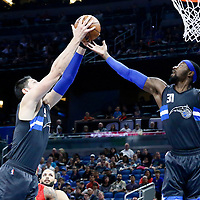 25 February 2017: Orlando Magic center Nikola Vucevic (9) and Orlando Magic forward Terrence Ross (31) stretch for the rebound during the Orlando Magic 105-86 victory over the Atlanta Hawks, at the Amway Center, Orlando, Florida, USA.
