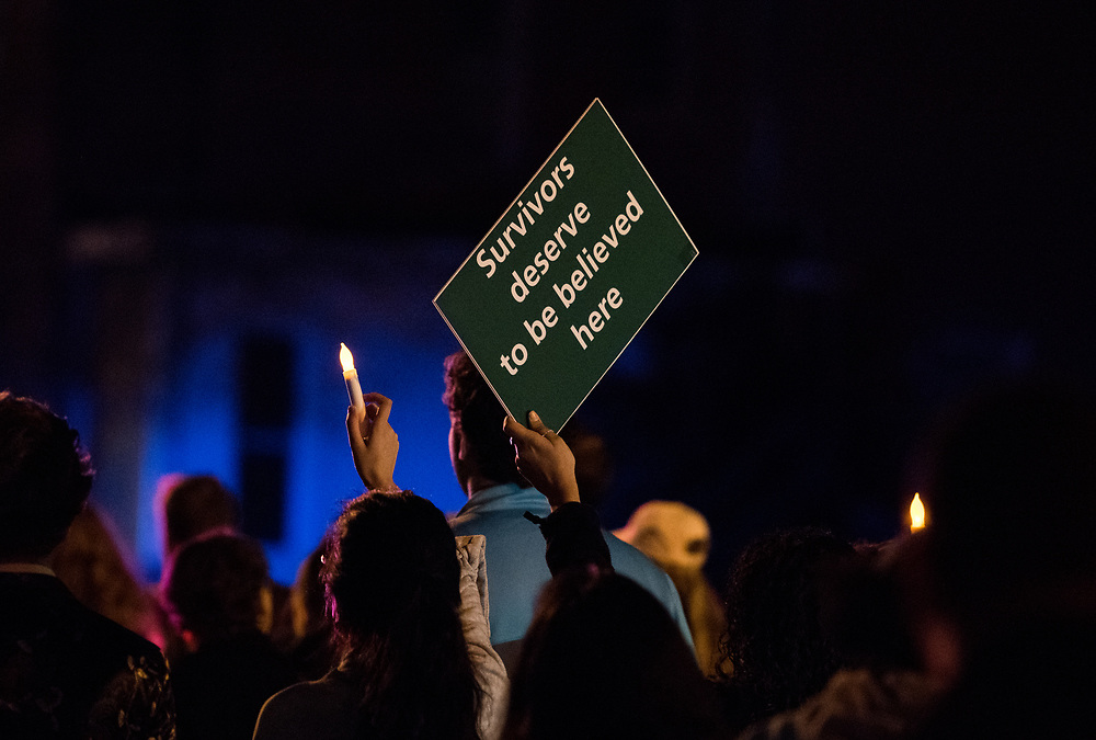 "Members of the Ohio University campus and community participate in the annual ""Take Back the Night"" march on Thursday April 5th, 2018. The march concluded the two days of events that focused on the survivors of sexual domestic violence."