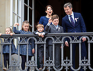 Copenhagen, 16-04-2015 <br /> <br /> Danish Royal Family at the balcony of Amalienborg Palace on the 75th birthday celebrations of Queen Margrethe of Denmark.<br /> <br /> <br /> Photo:Royalportraits Europe/Bernard Ruebsamen