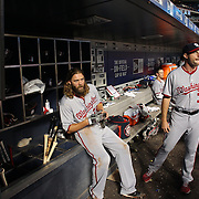 NEW YORK, NEW YORK - July 08: Jayson Werth #28 of the Washington Nationals and Max Scherzer #31 of the Washington Nationals watch play from the dugout during the Washington Nationals Vs New York Mets regular season MLB game at Citi Field on July 08, 2016 in New York City. (Photo by Tim Clayton/Corbis via Getty Images)