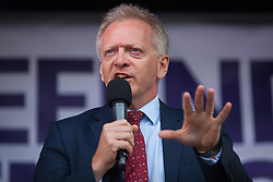 London, UK. 4 September, 2019. Dr Phillip Lee, Liberal Democrat MP for Bracknell, addresses Remain supporters at a Defend Our Democracy rally in Parliament Square shortly after MPs passed the Brexit delay bill in the House of Commons.