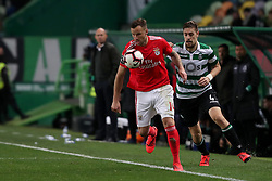 February 3, 2019 - Lisbon, Portugal - Benfica's Suisse forward Haris Seferovic (L) vies with Sporting's defender Sebastian Coates from Uruguay during the Portuguese League football match Sporting CP vs SL Benfica at Alvalade stadium in Lisbon, Portugal on February 3, 2019. (Credit Image: © Pedro Fiuza/NurPhoto via ZUMA Press)