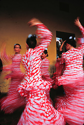 Europe, Spain, Andalucia, Sevilla, flamenco dancers in pink dresses (blurred motion)