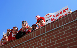Fans on Halifax`s streets in Down town at IIHF WC 2008, photographed  on May 04, 2008, Halifax, Nova Scotia, Canada.  (Photo by Vid Ponikvar / Sportal Images)