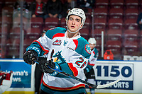 KELOWNA, CANADA - FEBRUARY 20: Liam Kindree #26 of the Kelowna Rockets warms up against the Prince George Cougars  on February 20, 2018 at Prospera Place in Kelowna, British Columbia, Canada.  (Photo by Marissa Baecker/Shoot the Breeze)  *** Local Caption ***