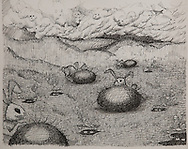 EASTER BUNNIES IN HELL, ink drawing, 1992