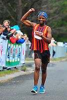 CAPE TOWN, SOUTH AFRICA - OCTOBER 10: Lewis Molise of CGA wins the mens 50km during the South African Race Walking Championship at Youngsfield Military Base on October 10, 2015 in Cape Town, South Africa. (Photo by Roger Sedres/ImageSA)