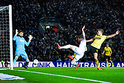Leeds United midfielder Jack Harrison (22) takes a shot during the EFL Sky Bet Championship match between Leeds United and Millwall at Elland Road, Leeds, England on 28 January 2020.