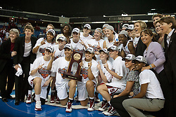 March 29, 2010; Sacramento, CA, USA; The Stanford Cardinal celebrate after the game against the Xavier Musketeers  in the finals of the Sacramental regional in the 2010 NCAA womens basketball tournament at ARCO Arena. Stanford defeated Xavier 55-53.
