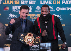 November 20, 2018 - Beverly Hills, California, U.S - (L) Manny Pacquiao and Adrien Broner pose during a news conference, Tuesday, November 20, 2018, in Beverly Hills, California. Pacquiao will defend his World Boxing Association welterweight title against Broner on January 19, 2019, in Las Vegas. (Credit Image: © Prensa Internacional via ZUMA Wire)