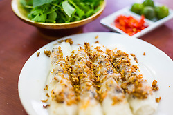 Serving of Banh Cuon Nong at a restaurant in Hanoi, Vietnam, Southeast Asia