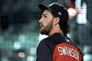 Jul 24, 2017; Phoenix, AZ, USA; Atlanta Braves shortstop Dansby Swanson (7) looks on during batting practice prior to the MLB game against the Arizona Diamondbacks at Chase Field. Mandatory Credit: Jennifer Stewart-USA TODAY Sports