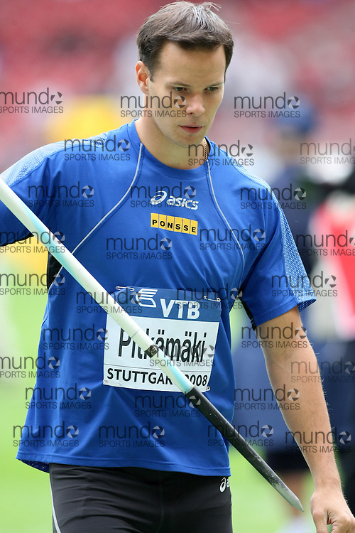 (Stuttgart, Germany---14 September 2008) Tero Pitkämäki of Finland finished third in the javelin at the 2008 World Athletics Final. [Copyright Sean W. Burges/Mundo Sport Images, 2008.]