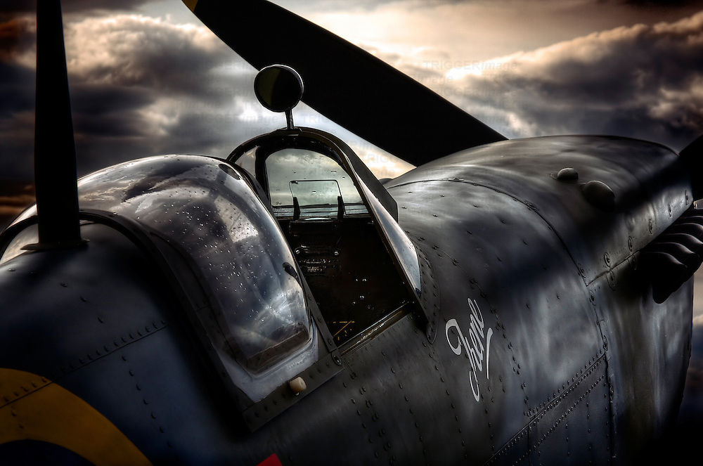 Closeup of a Supermarine Spitfire cockpit at Sunset. The Supermarine Spitfire is a British single-seat fighter aircraft that was used by the Royal Air Force and many other Allied countries during and after the Second World War.