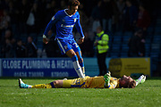 Gillingham FC midfielder Sean Clare (28) celebrates with Gillingham FC goalkeeper Tomas Holy (13) after the EFL Sky Bet League 1 match between Gillingham and Charlton Athletic at the MEMS Priestfield Stadium, Gillingham, England on 16 September 2017. Photo by Martin Cole.