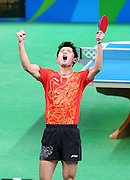 RIO DE JANEIRO, BRAZIL - AUGUST 15:<br /> <br />  Zhang Jike of China competes against Youngsik Jeoung of Korea during the Table Tennis Men\'s Team Semifinal on Day 10 of the Rio 2016 Olympic Games at Riocentro - Pavilion 3 on August 15, 2016 in Rio de Janeiro, Brazil.<br /> ©Exclusivepix Media